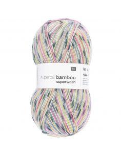 Pelote Rico socks superba bamboo 4 fils gris-vert mix