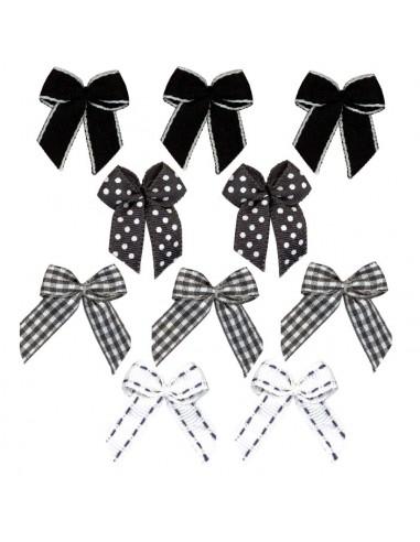 Lot de 10 petits noeuds assortis - Noir