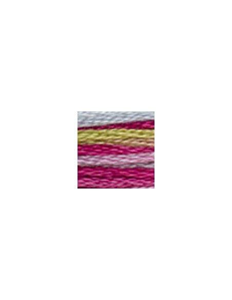 Fil à broder coloris multicolore fushia-vert 4502