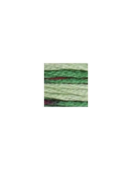 Fil à broder coloris multicolore vert-rouge 4520