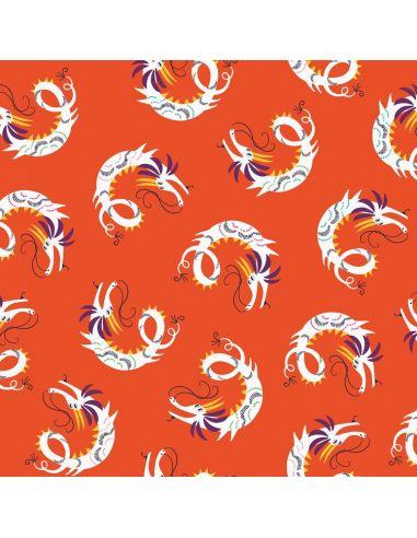 Tissu en coton Silk road Dragons