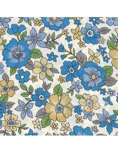 Tissu en coton léger Fleurs Lisa coloris Bleu