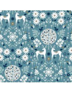 Tissu en coton Starlit hollow Forest fauna in white