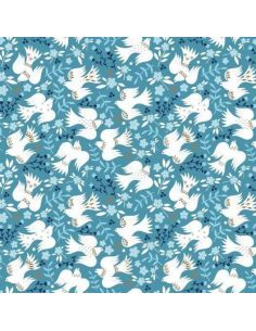 Tissu en coton Starlit hollow Reindeer damask in blue