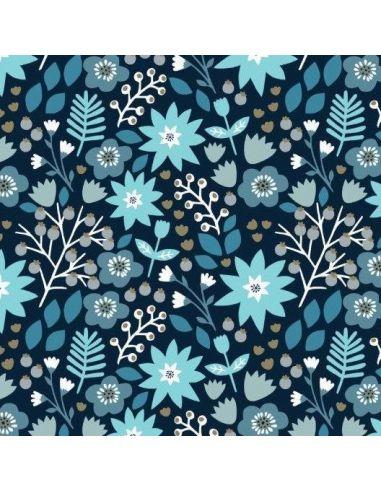 Tissu en coton Starlit hollow Winter floral in blue