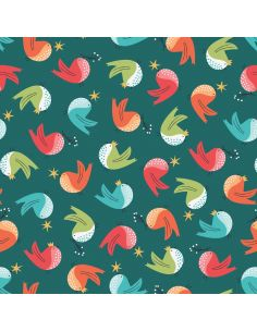 Tissu en coton Forest friends Robin metallic