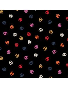 Tissu en coton Full moon Skulls black