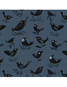 Tissu en coton Full moon Crows