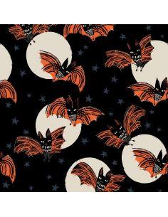Tissu en coton Full moon Scary bats