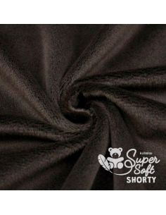 Coupon de tissu peluche shorty chocolat