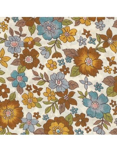 Tissu en coton léger Fleurs Lisa coloris café