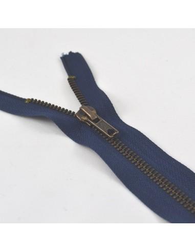 Fermeture Eclair Métallique Jeans 15cm Marine