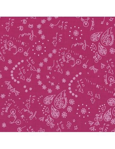 Tissu en coton léger A bicyclette Camélia coloris 507