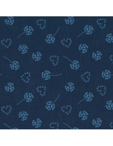 Tissu en coton léger Odonata Bleu intense motif 210
