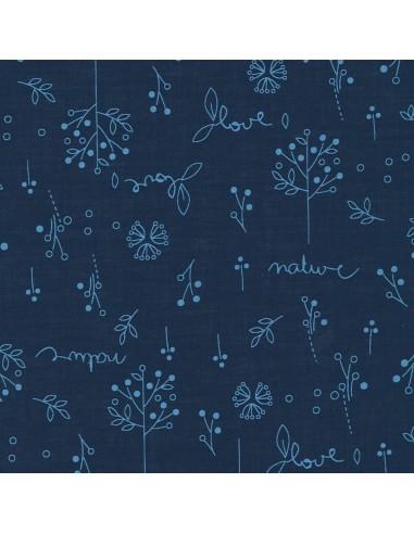 Tissu en coton léger Odonata Bleu intense motif 310