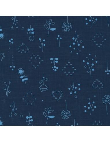 Tissu en coton léger Odonata Bleu intense motif 510