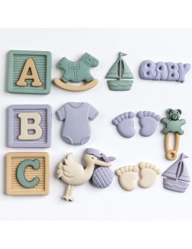 Assortiment de 12 boutons décoratifs - Collection Layette - Garçon