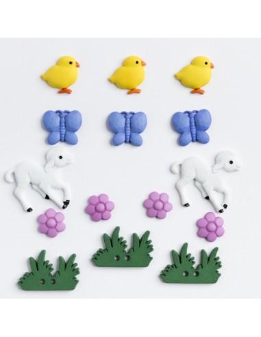 Assortiment de 15 boutons décoratifs - Collection Layette - Jardin