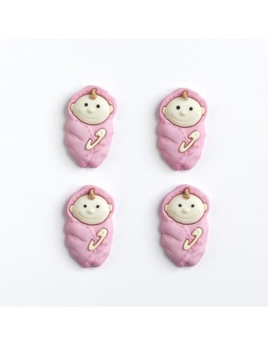 Assortiment de 4 boutons décoratifs - Collection Rose - Bébés