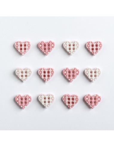 Assortiment de 12 boutons décoratifs - Collection Rose - Coeurs