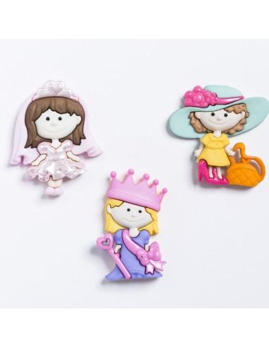 Assortiment de 3 boutons décoratifs - Collection Il était une fois - Les princesses
