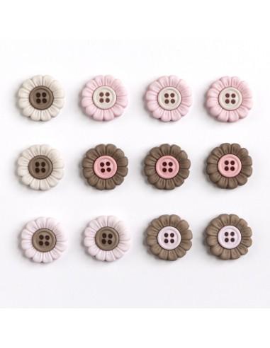 Assortiment de 12 boutons décoratifs - Collection Il était une fois - Fleurs