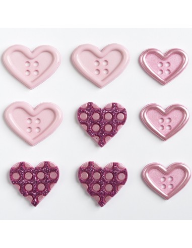 Assortiment de 9 boutons décoratifs - Collection Au pays des fées - Coeurs roses