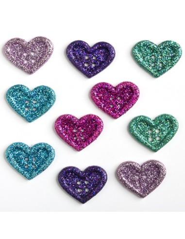 Assortiment de 10 boutons décoratifs - Collection Au pays des fées - Coeurs à paillettes
