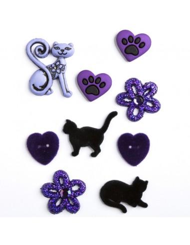 Assortiment de 9 boutons décoratifs - Collection Au pays des fées - Chat noir