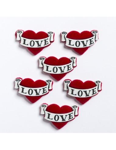 Assortiment de 6 boutons décoratifs - Collection Loving you - Love