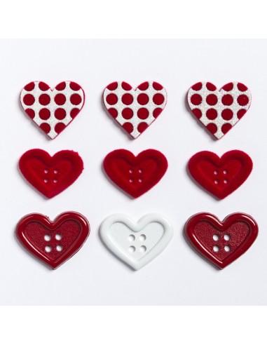 Assortiment de 9 boutons décoratifs - Collection Loving you - Coeurs rouges