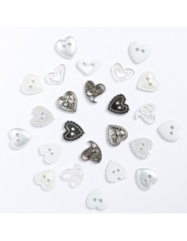 Assortiment de 25 boutons décoratifs - Collection Loving you - Coeurs blancs