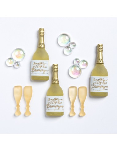 Assortiment de 8 boutons décoratifs - Collection Loving you - Champagne