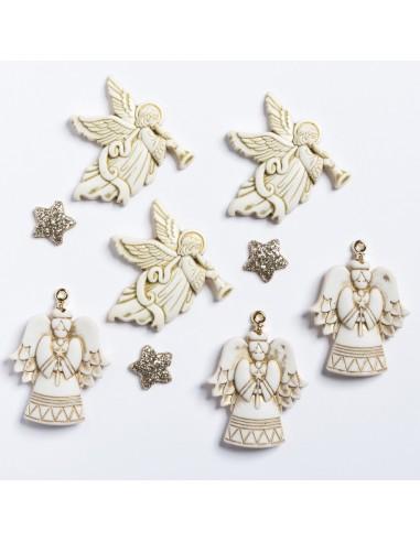 Assortiment de 9 boutons décoratifs - Collection Loving you - Ange