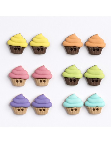 Assortiment de 12 boutons décoratifs - Collection Gourmandise - Cupcakes