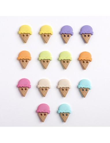 Assortiment de 14 boutons décoratifs - Collection Gourmandise - Glaces
