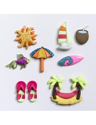 Assortiment de 8 boutons décoratifs - Collection Plage - Hawaii