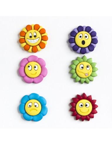 Assortiment de 6 boutons décoratifs - Collection Plage - Soleil