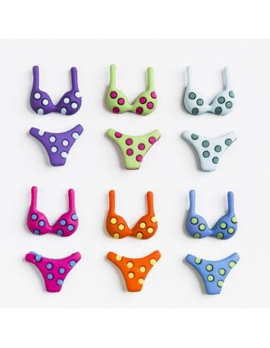 Assortiment de 12 boutons décoratifs - Collection Plage - Bikinis