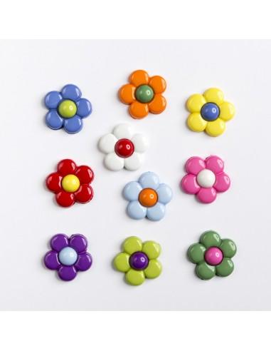 Assortiment de 10 boutons décoratifs - Collection Printemps - Paquerettes