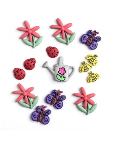 Assortiment de 14 boutons décoratifs - Collection Printemps - Jardin