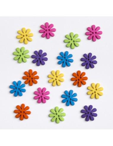 Assortiment de 18 boutons décoratifs - Collection Printemps - Marguerites