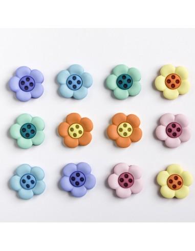 Assortiment de 12 boutons décoratifs - Collection Printemps - Pensées