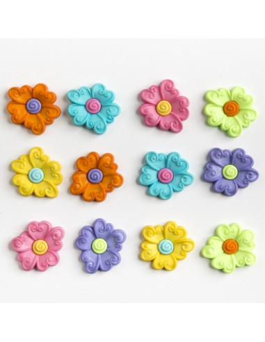 Assortiment de 12 boutons décoratifs - Collection Printemps - Pétunia