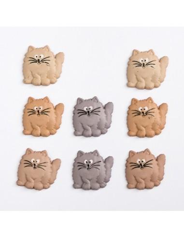 Assortiment de 8 boutons décoratifs - Collection Animaux - Chats