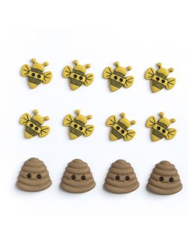 Assortiment de 12 boutons décoratifs - Collection Animaux - Abeilles