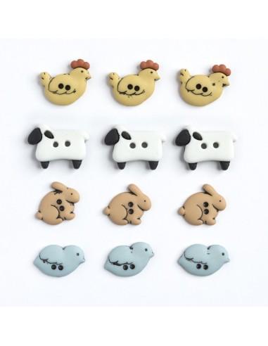 Assortiment de 12 boutons décoratifs - Collection Animaux - La ferme