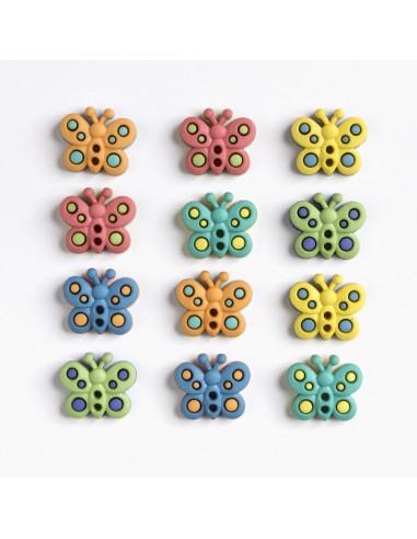Assortiment de 12 boutons décoratifs - Collection Animaux - Papillons