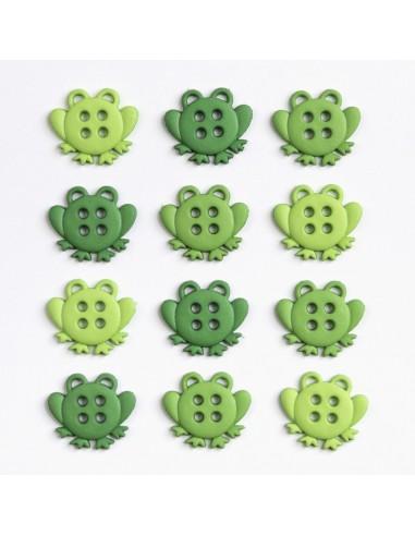Assortiment de 12 boutons décoratifs - Collection Animaux - Grenouilles