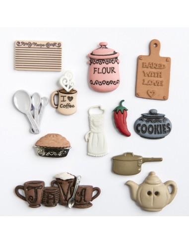 Assortiment de 12 boutons décoratifs - Collection On s'amuse - Cuisine
